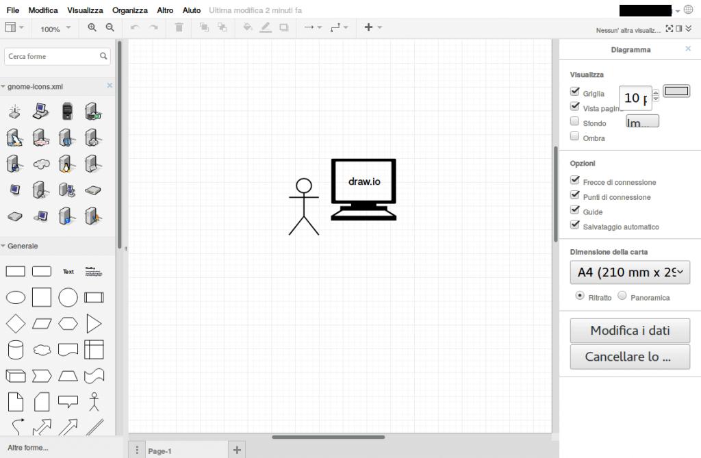 Draw.io - strumento di disegno gratis per diagrammi di flusso, grafi, reti