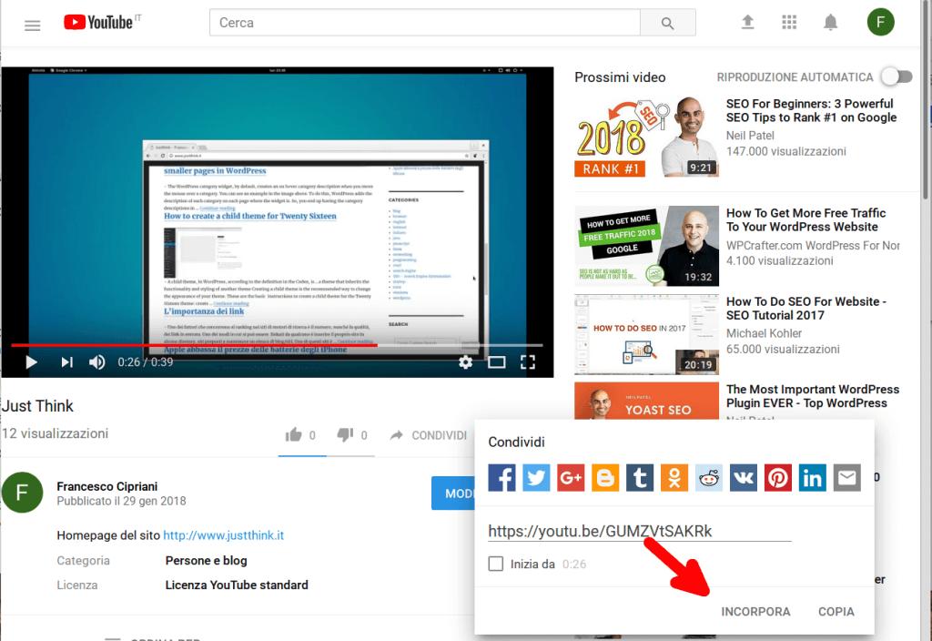 inserire video youtube wordpress 2 incorpora