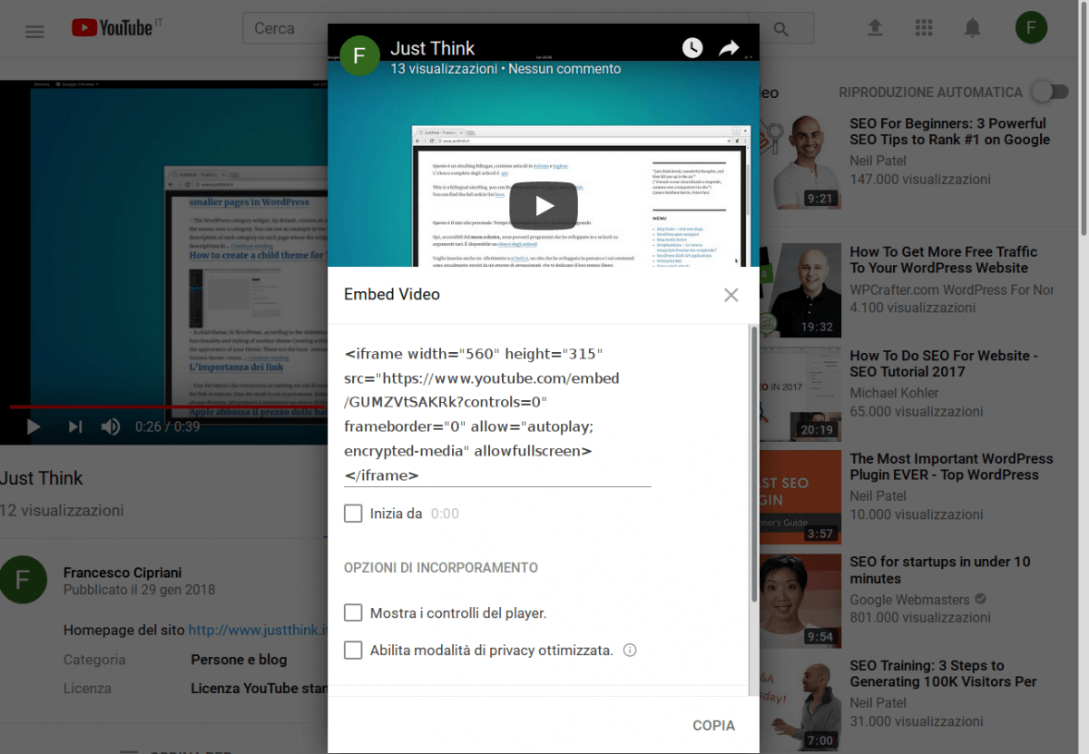 inserire video youtube wordpress 3 codice